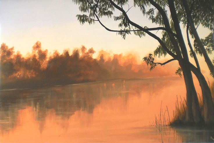 The murray river, in dawn fog