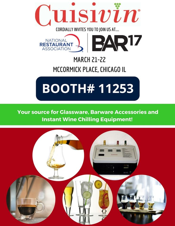 Are you attending National Restaurant Association BAR'17 Expo? If so come check out our Booth #11253! See you in 5 days! #NationalRestaurantAssociation #Barware #Glassware #Accessories