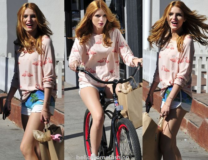 Bella Thorne wears this Pink Heart Flamingo Animal Printed Sweater All things Fabulous Cozy Flamingo Jumper out shopping on December 1st 2014.