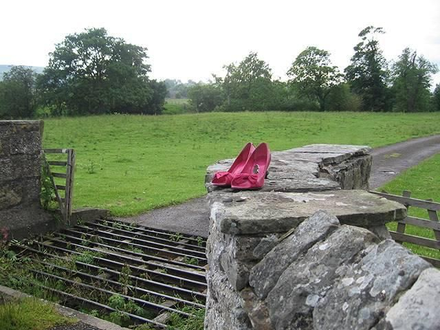 Weekend readers' best photographs: lost    'Early one morning I found these shoes on a wall in Wensleydale. I wondered whether they had been removed to traverse the cattle grid - certainly not the type of shoes for traversing this type of terrain!'    C.A Roberts