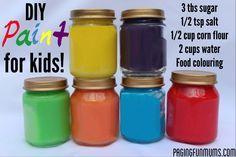 Farben selbst herstellen. Vermutlich nicht sehr haltbar oder lichtecht, dafür klasse für Farbexperimente, haitische Erfahrungen, etc