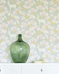 Apple Garden Soft Grey/Yellow/ Pink/Cream White från Majvillan