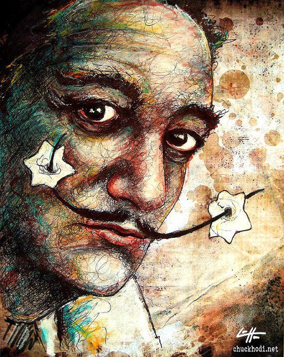 Salvador Dali Surreal Artist Mustache Flowers Spanish