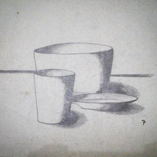 A Glass, a Bowl, and a Plate . I've got 7 for drawing task when i was in elementary school . . #latepost #glass #bowl #plate #perspective #sketch #sketching #draw #drawing #handdrawing #pencil #monochrome #art #artwork #myfreehandArt #AAI
