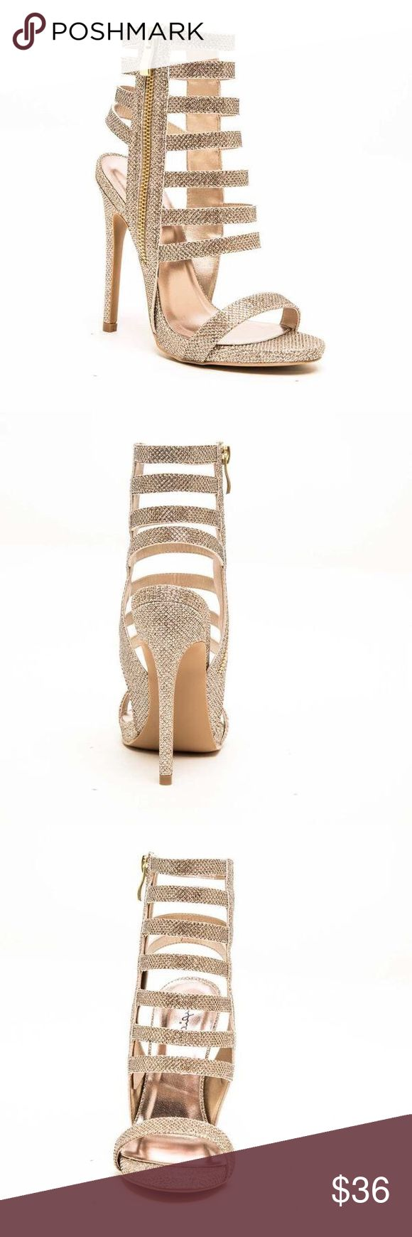 "NWOB Qupid Glee-104 Women's Cage Heel Sandal NWOB Qupid Glee-104 Women's Cage High Heel Sandal, Champagne Glitter PU, Size 8.5. Heel: 4.5"" (Approximately) Shoes Sandals"