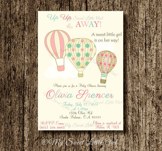 Hot air balloon invitation balloon printable by MySweetLittleOwl