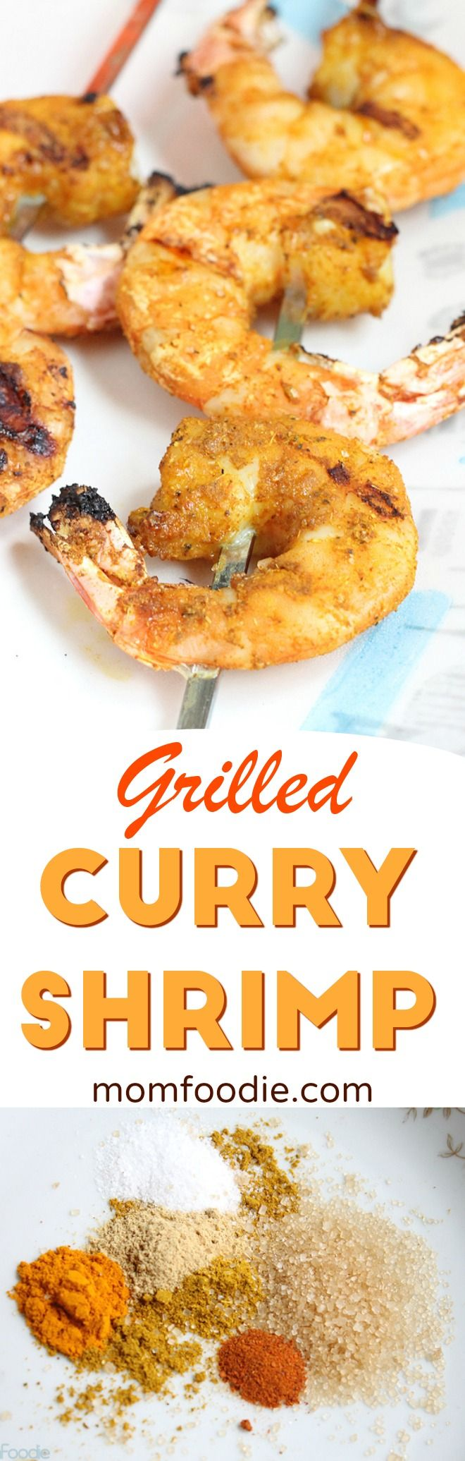 Grilled Curry Shrimp - Grilled wild shrimp in a sweet & spicy curry dry rub. #shrimp #curry #grilling