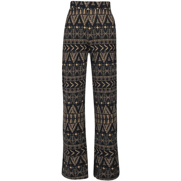 Boohoo Mason Aztec Wide Leg Trouser ($14) ❤ liked on Polyvore featuring pants, wide leg pants, aztec print pants, flat-front pants, aztec wide leg pants and wide leg trousers