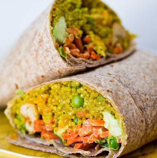 Spicy Curried Quinoa Wrap: Used Peanut Butter Instead of Tahini and It Was AMAZING! Recipe Makes A TON!