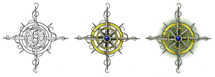 Realistic Yellow And Blue Color Ink 3 Compass Tattoo Designs For Girls