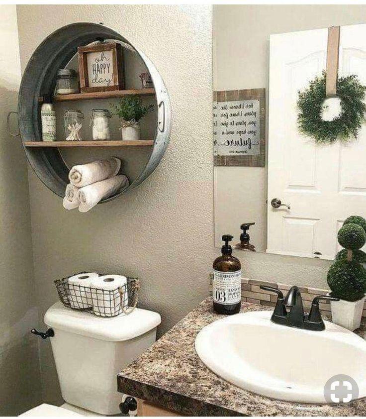 galvanized metal shelving above toilet for rustic loom #ModernHomeDecorBathroom   – Modern Home Decor Bathroom
