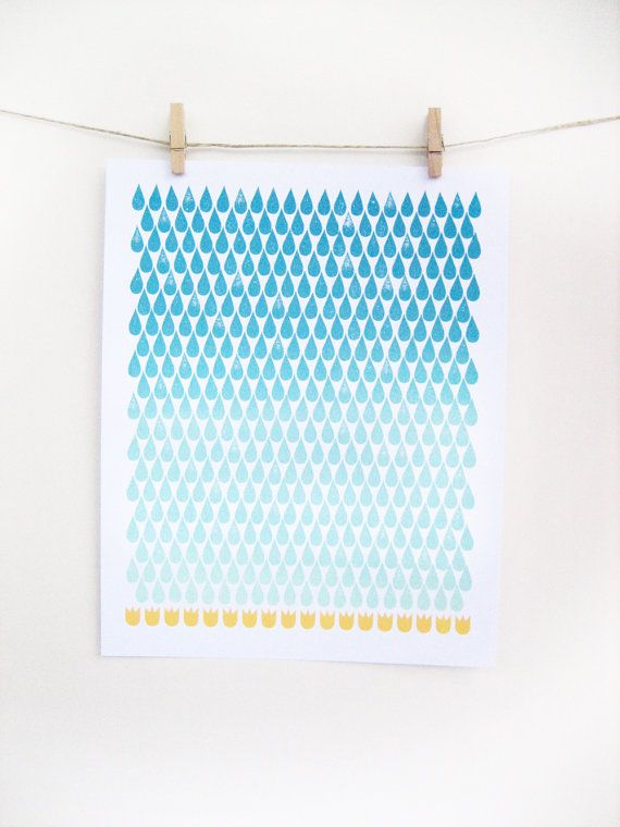 Spring rain print - blue ombre and yellow screen print