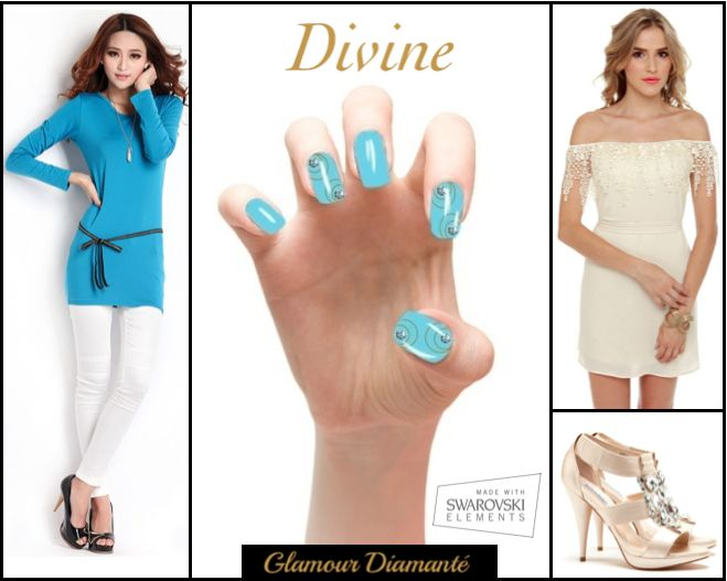 Made With Swarovski Elements.  Glamour diamanté is a chic & classy set of instant press-on manicure with light blue nails & golden circles. The central crystals highlight the artistic design to offer a brand new and fresh style.