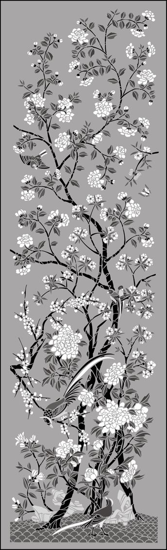 Chinese Style Pheasant Panel No 4 stencils, stensils and stencles