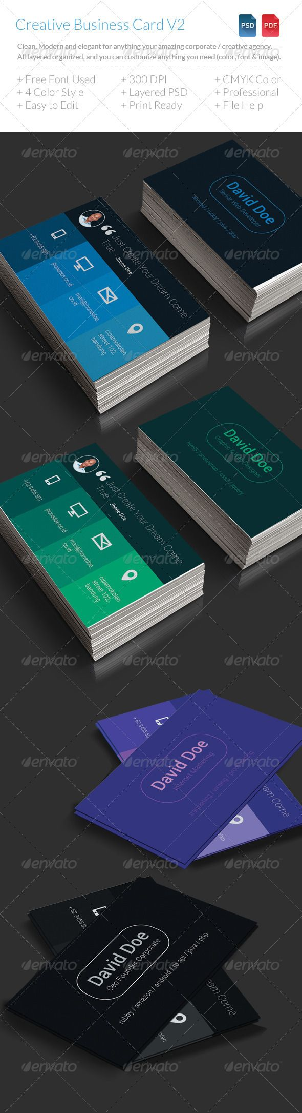 Creative Business Card Creative Business Card is simple, clean, flat style and elegant for anything creative agency / corporate and creative people. All layers can be changed, you can replace all the information on the business card in easy way with just a few clicks.  See it at http://graphicriver.net/item/creative-business-card/7126886