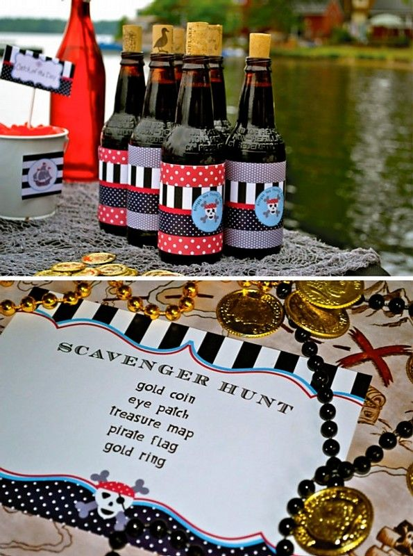 Pirates by the Lake Scavenger Hunt - To give the Root beer an extra touch, I added a cork  & some of the pattern paper to each of them underneath the drink wrap. (www.andersruff.com Aug 9, 2011): Hunt'S Games, Birthday Parties, Roots Beer, Pirates Parties, Beer Bottle, Parties Ideas, Pirates Scavenger Hunt'S, Parties Scavenger, Pirate Party'S
