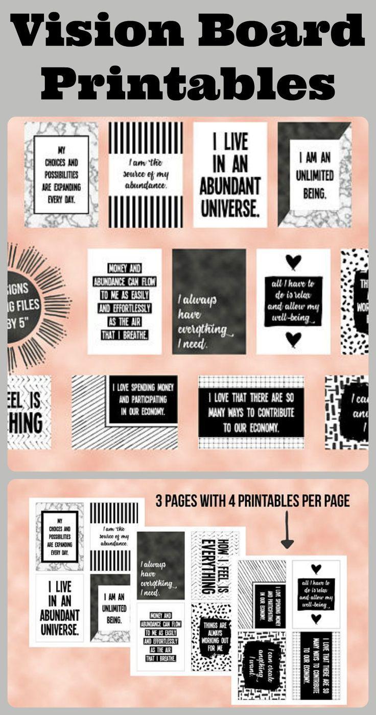 Vision Board Printables Abundance Quotes Dorm Room