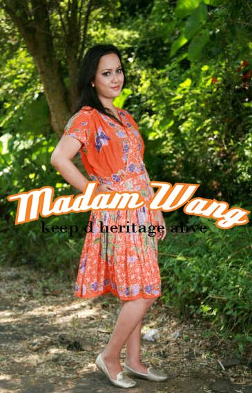 batik dress orange bahan paris