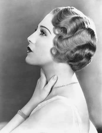 BeBe Daniels sporting a finger wave hairstyle from the 1920's. Finger waving was very popular during the 1920's and movie stars were some of the first adopters.