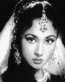Meena Kumari (1 August 1932 – 31 March 1972), born Mahjabeen Bano, was an Indian movie actress and poet. She is regarded as one of the most prominent actresses to have appeared on the screens of Hindi Cinema. With her contemporaries Nargis and Madhubala she is regarded as one of the most influential Hindi movie actresses of all time. http://en.wikipedia.org/wiki/Meena_Kumari