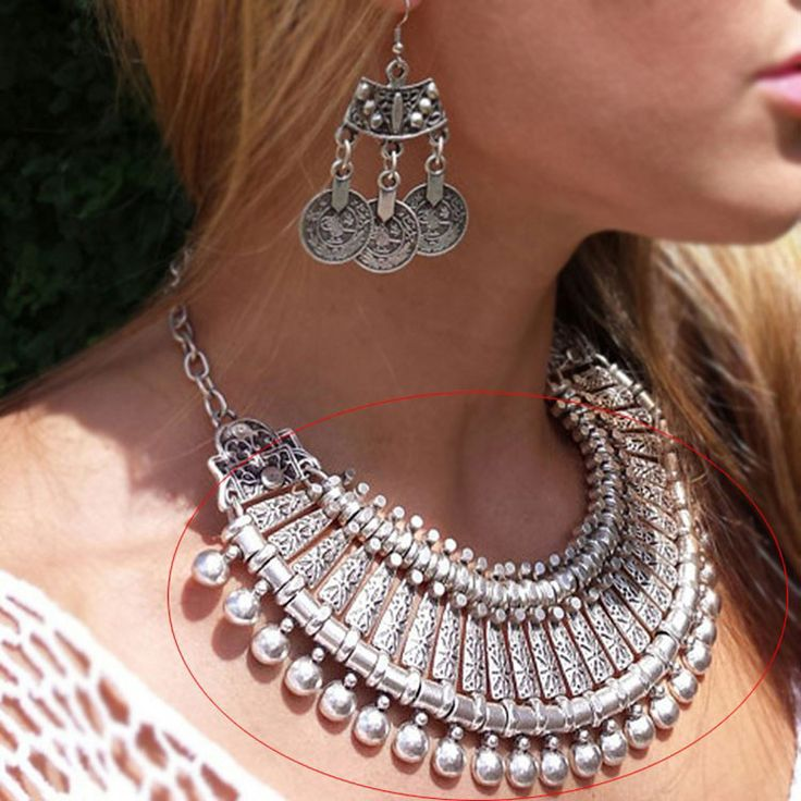 2016 New Antique Silver Bohemian Style Gypsy Love Affair Metal Carving Flower Ball Long Pendant Statement Necklaces Boho Jewelry