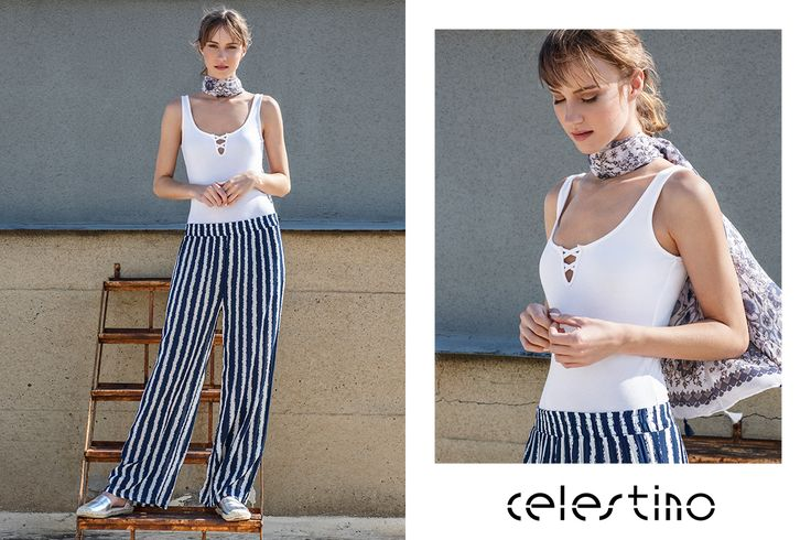 Stripes on my trousers and a bright white bodysuit. That's all I need for a day like this one. #Celestino #ootd #outfits #fashion
