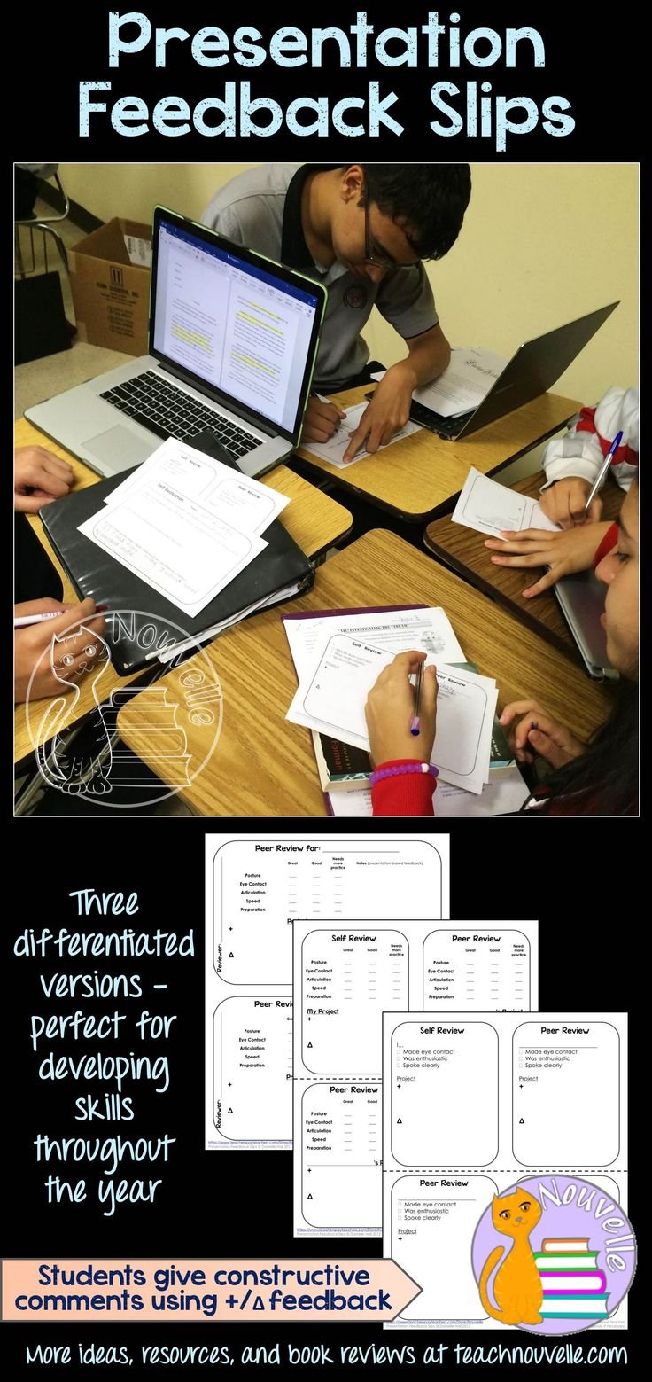 Build your students' collaboration and critical thinking skills with these peer and self evaluation forms. Students will develop constructive criticism skills and can give each other feedback in a wide range of presentation settings. Three differentiated versions of this form allow for skill-building throughout the year. (grades 4-12)