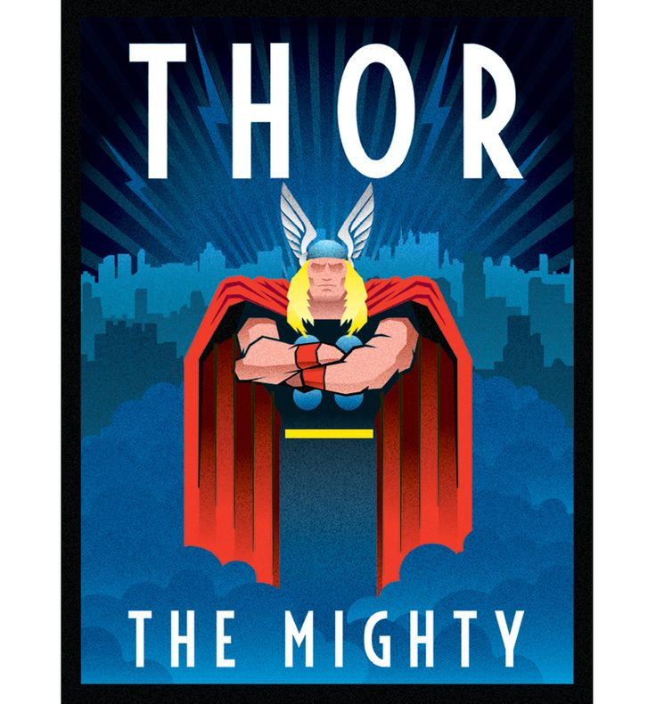 Marvel Comics Thor Deco Canvas Print 30 x 40cm Jolt Creative #officiallyawesome