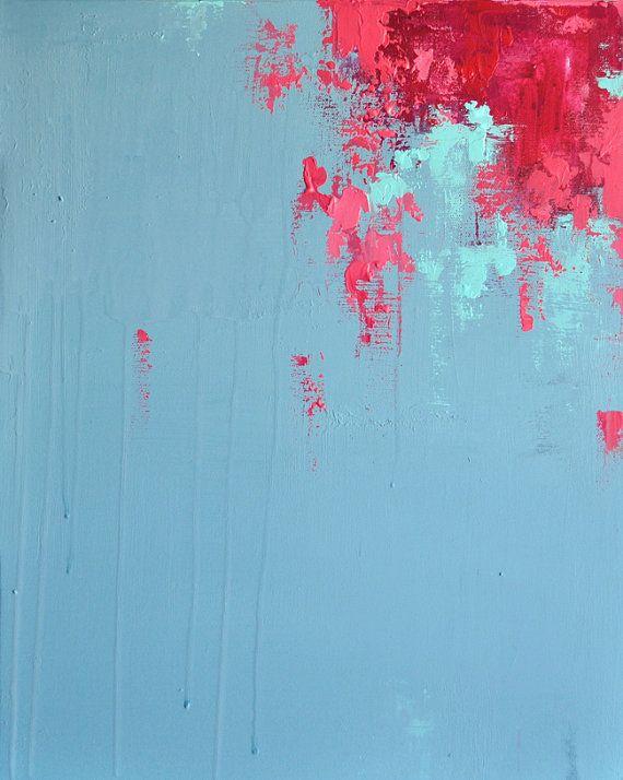 Cherry Flowers Original Abstract Painting Modern by Natureandart, $245.00