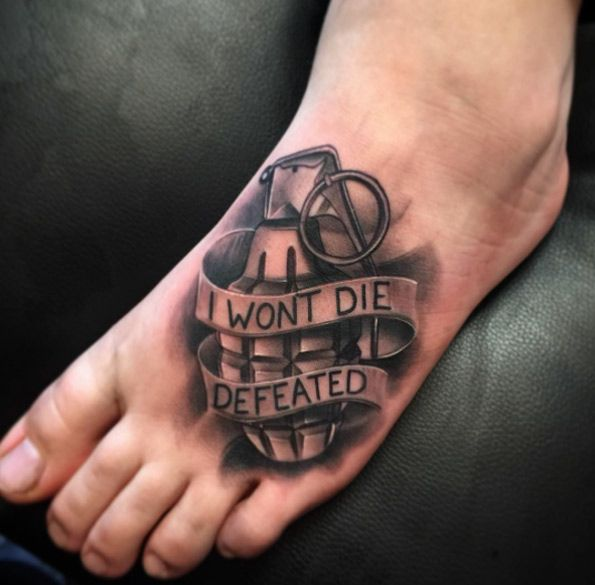 Grenade Tattoo on Foot by Bobby