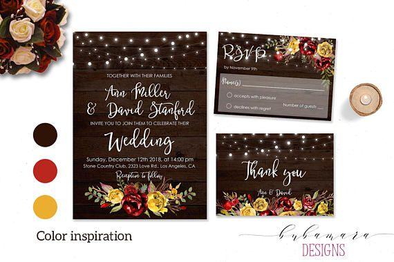 Rustic Red Mustard Wedding Invitation Suite Printable String