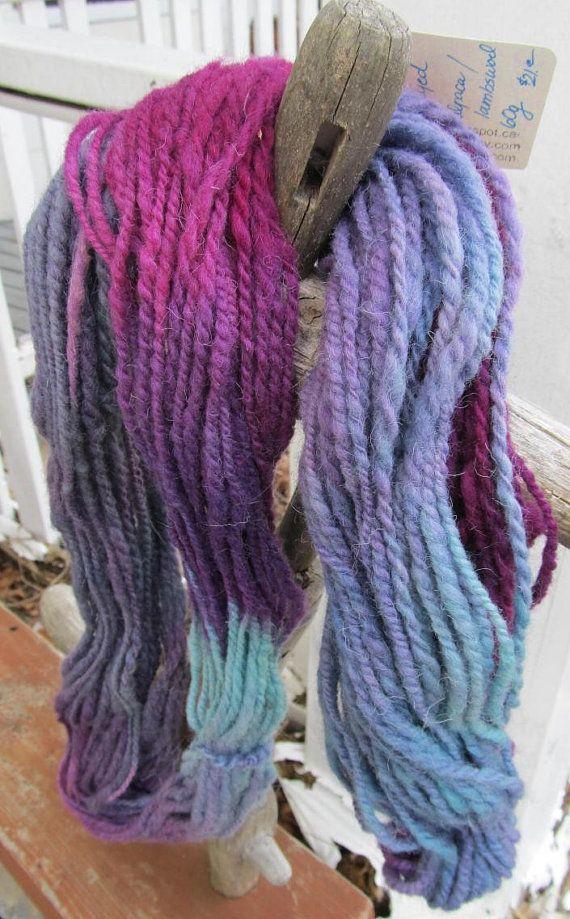 Alpaca & Lambswool Plum Teal Blue Mauve 2 Ply  by Crystalheart, $21.00