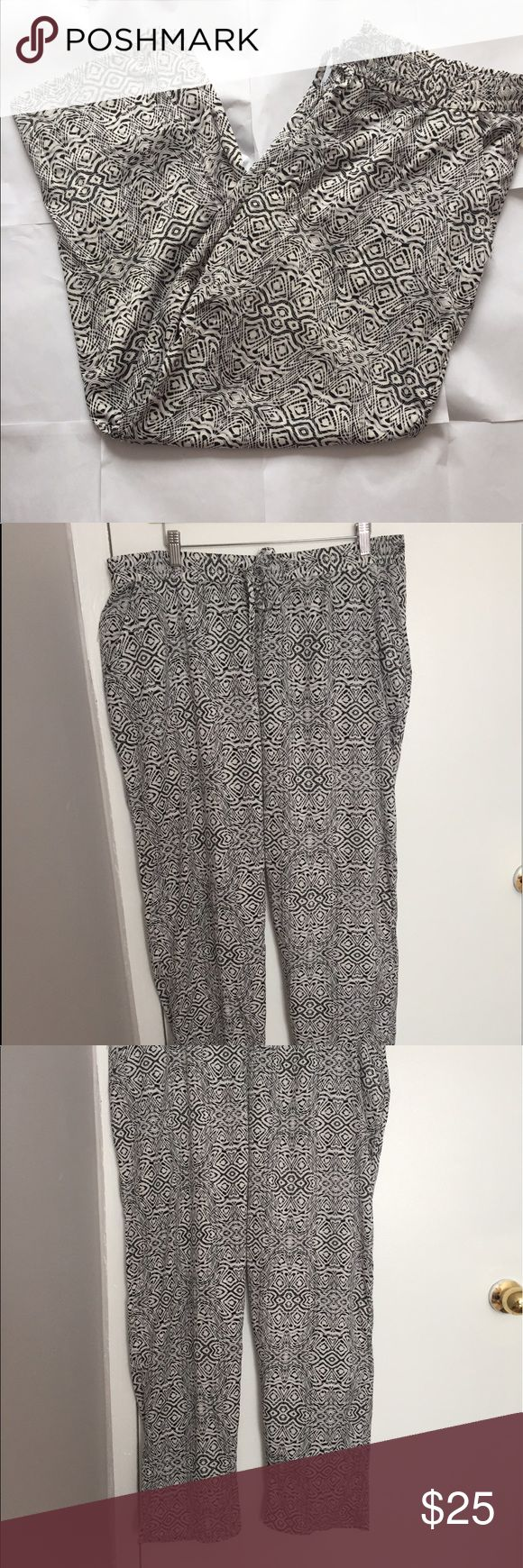 NWT Tribal Print Lightweight Ankle Pants Size 1X NWT Soft and very lightweight women's jogger pants with tags! Elastic waist, with pockets! 100% Lightweight Polyester. 28 inseam, waist is   37 all around with plenty of stretch, really pretty in person! Mlle Gabrielle Pants Ankle & Cropped
