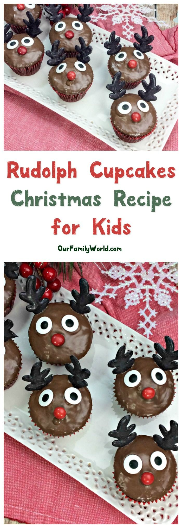 No one will laugh and call you names when you pull out these darling Rudolph Cupcakes at your holiday party! Check them out and grab the recipe!