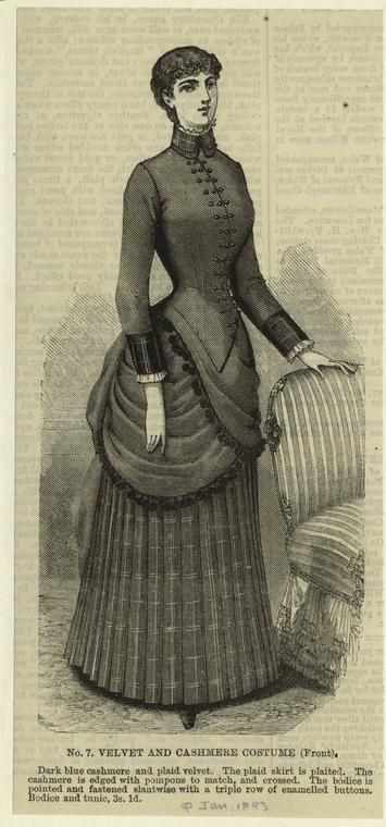 "Written on border: ""Jan. 1883"" Printed on border: ""No. 7."" ""Dark blue cashmere and plaid velvet. The plaid skirt is plaited. The cashmere is edged with pompons to match, and crossed. The bodice is pointed and fastened slantwise with a triple row of enamelled buttons. Bodice and tunic, 3s. 1d."""