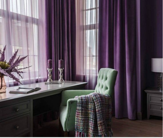 Pair Of Purple Velvet Curtains Bedroom Velvet Curtains Etsy In 2020 Curtains Living Room Purple Curtains Living Room Purple Curtains Bedroom