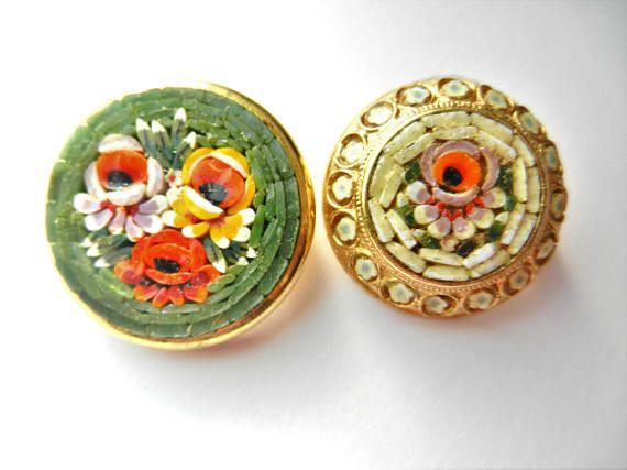 Beautiful pair of Florentine glass micro mosaic  brooches/Pin
