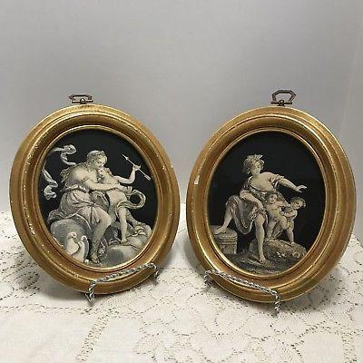 2 Vintage Chalkware Framed Voluptuous Women Semi Nude Prints 6 X 8 Oval