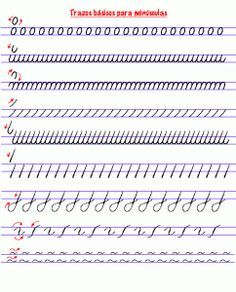 ejercicios para caligrafía minúscula