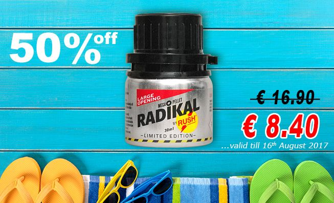 Summer Sale hot the hot days! Radikal Rush 50% off only valid till 16th August 2017