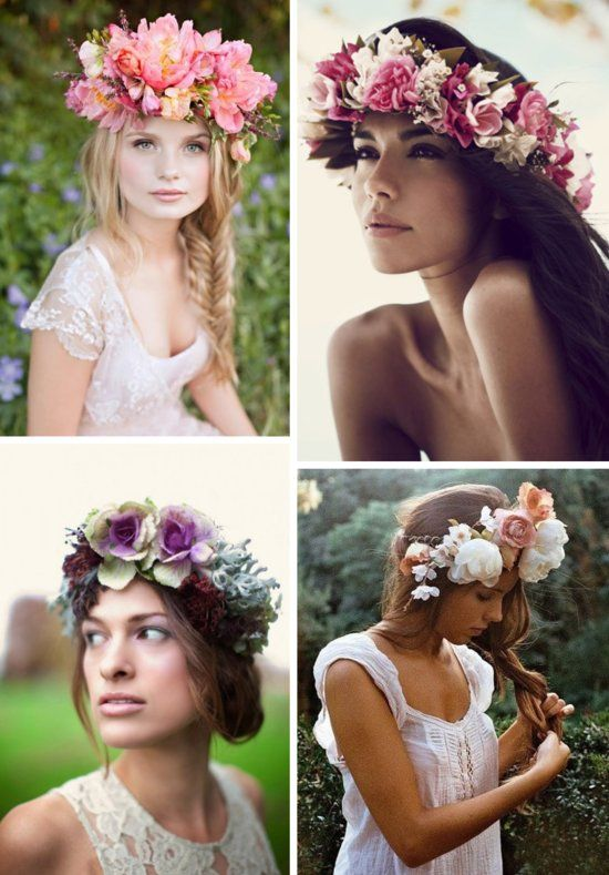 Bohemian brides in bright floral crowns