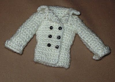 Free Barbie patterns -Double Breasted Pea Coat is so cute! Has a belt in back! Pattern to make this a long coat too. by  Hazel3Crochets
