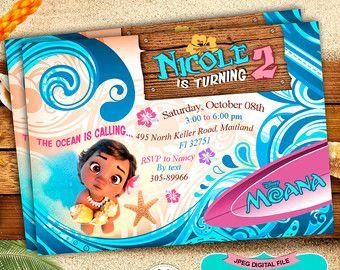 Moana Ticket Invitation Moana Birthday Party by LythiumArt