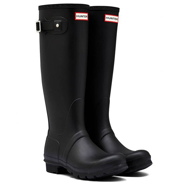 Women's Hunter Womens Original Tall WFT1000RMA-BLK Boot ($100) ❤ liked on Polyvore featuring shoes, boots, black, boots & booties, black rubber boots, tall boots, tall rubber boots, rain boots and wellington boots