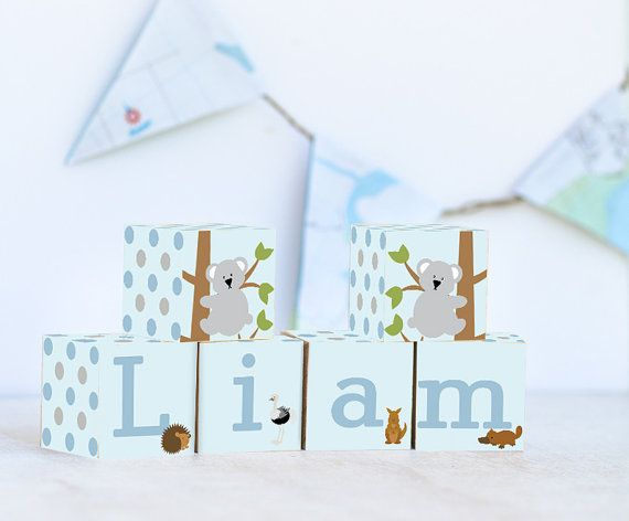 Koala Australian Name Blocks, Nursery Decor, Nursery Name Personalized Wooden Blocks