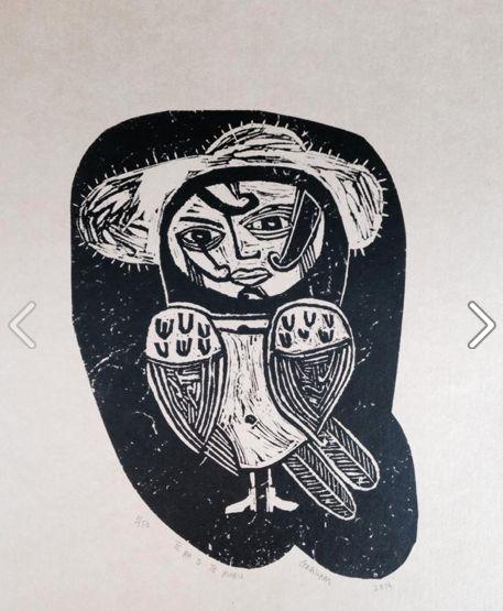 Charlotte Graham ruru/owl  linocut 2014 http://www.charlottegraham.co.nz/shop/product/44249/Te_ha_o_te_ruru_/