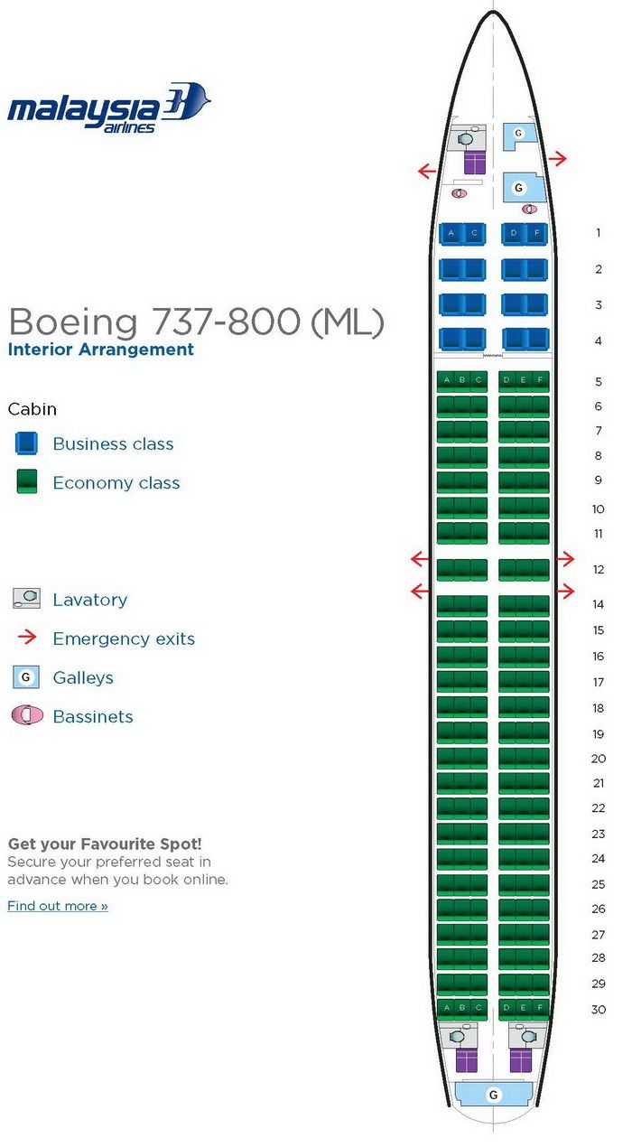 Malaysia Airlines Boeing 737 800 Aircraft Seating Chart Airplane