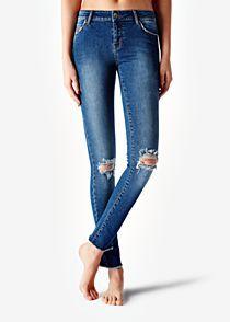 Potrhané lemované džíny