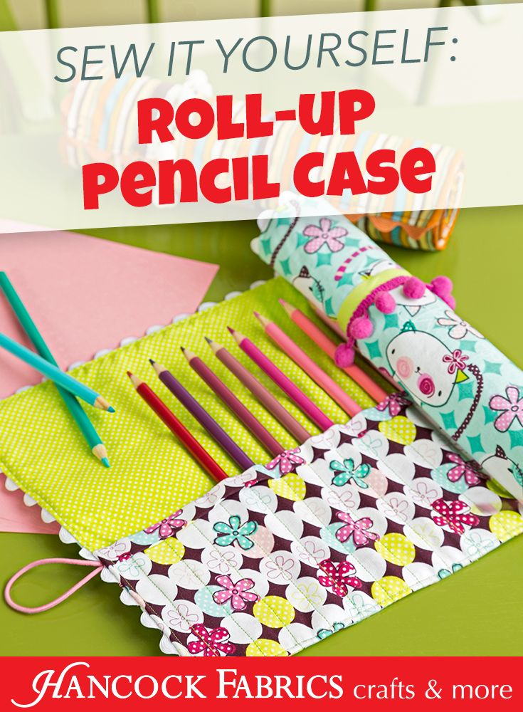 Instead of a traditional pencil case or pouch, stitch something different and unique for your artist, like this Roll-Up Pencil Case from Hancock Fabrics and Simplicity Creative Group! Sewing Suppli…