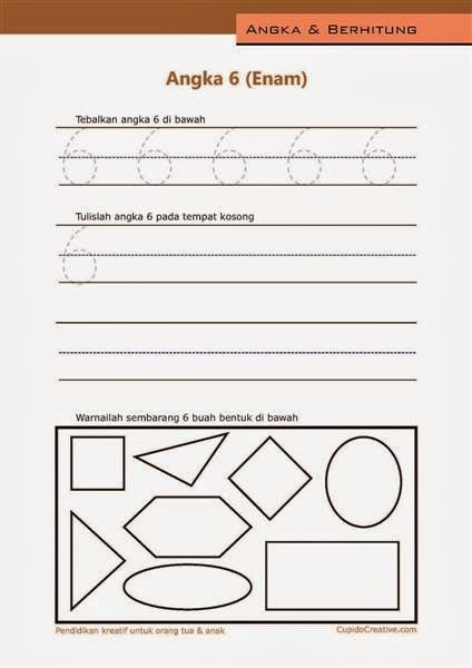 belajar angka paud (anak balita/TK), menulis 1-10, angka 6